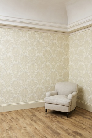 Farrow  Ball Lotus BP2003 wallpaper in living room. Woodwork in Matchstick and walls in New White.