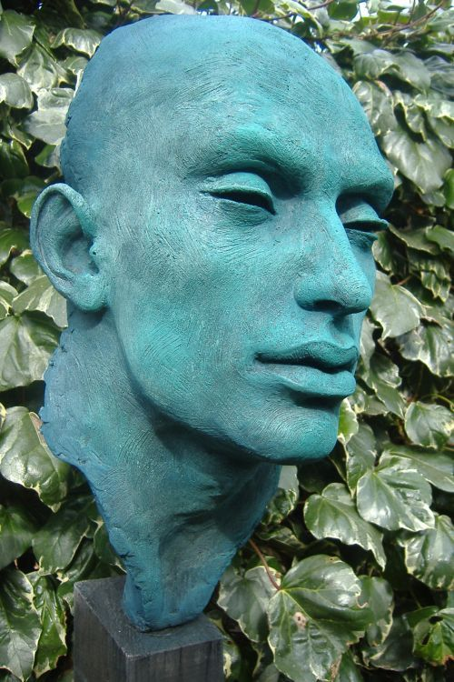 Poly chromed resin on wood, cement base Literary Characters #sculpture by #sculptor Lucy Kinsella titled: 'Othello (Bronze Male Bust/Head Garden /Yard statue for sale)' #art