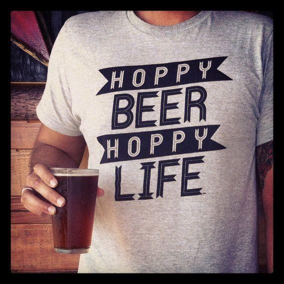 Hoppy Beer Hoppy Life Heather Gray and Black door HoppyBeerHoppyLife