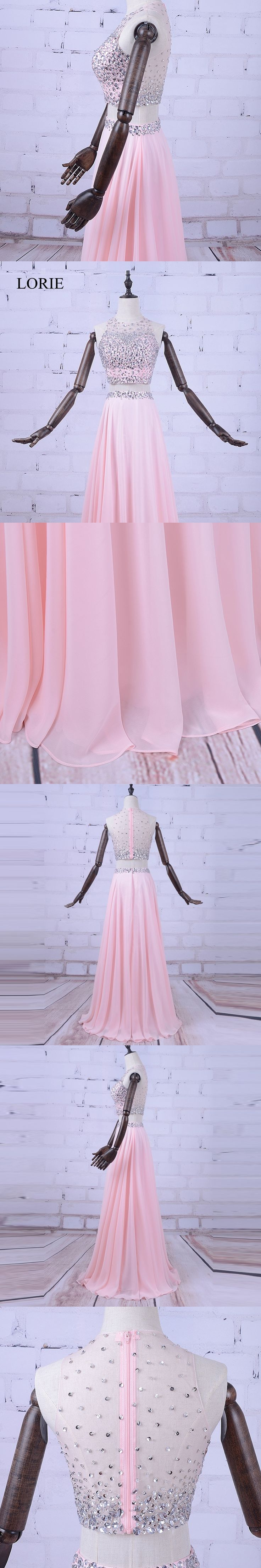 A Line 2 Piece Prom Dresses 2017 Crystals Beaded Pink Chiffon Long Evening Dress Robes De Soiree Formal Party Gown Fast Shipping