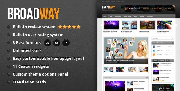 Broadway - A WordPress Magazine Theme $35