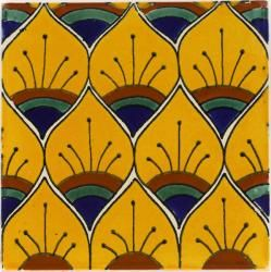 Mexican Tile   - Yellow Peacock Feathers Mexican Tile