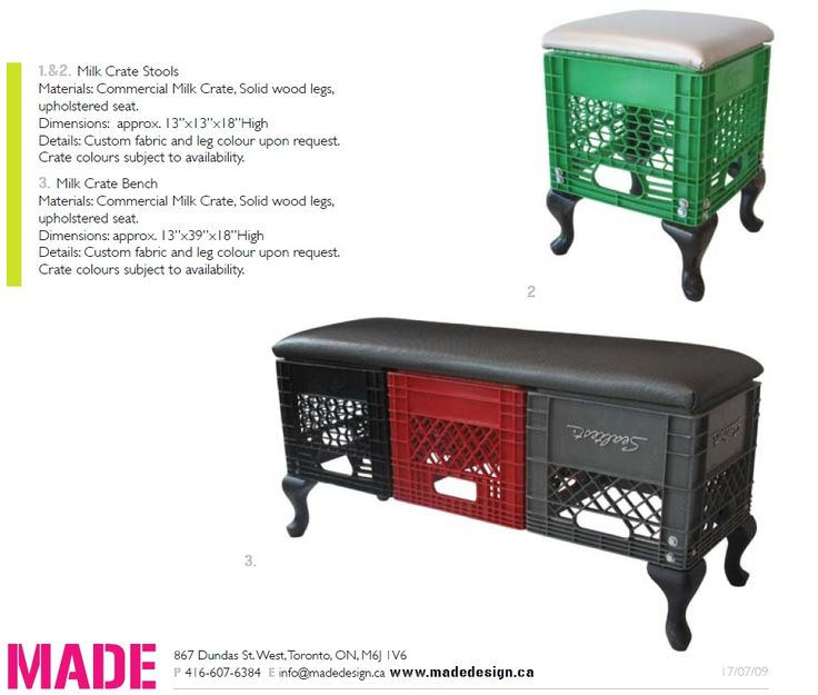 Milk Crate Furniture (Bench And Ottoman) By MadeDesign Http://www.
