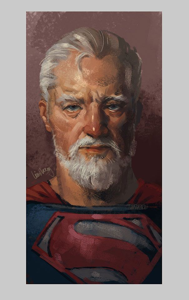 Eddie Liu, an artist based in Shanghai, has created a short but wonderful series that imagines what a few of our favorite superheroes might look like when they grow old. In Liu's interpretation, they've lost some of their youthful sheen but retain all of their heroic majesty.