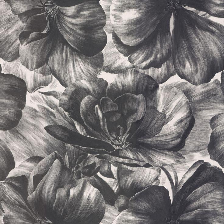 behang € 63,00 per rol Vliesbehang uit de collectie Bohemian Rhapsody van DecorMaison. Patroon Small Art Bloom (2921) bloem in kleur grijs. ...