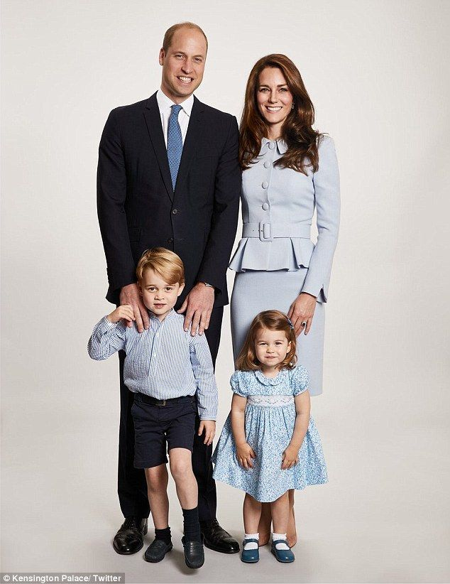 The Duke and Duchess of Cambridge with Prince George, four, and Princess Charlotte, two