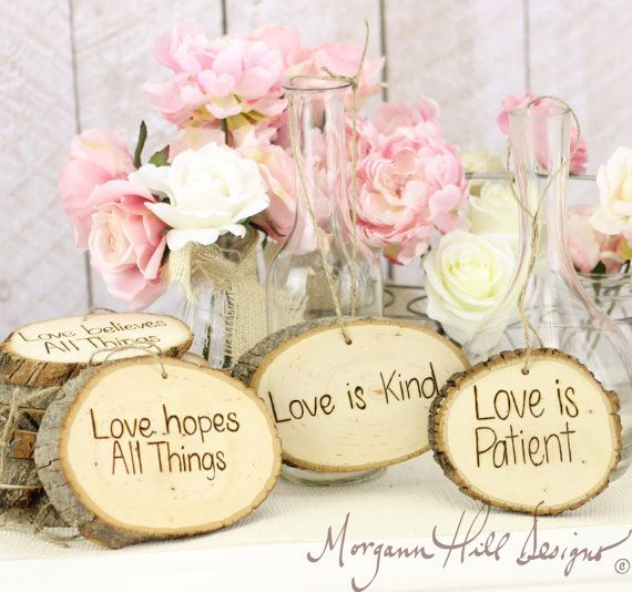 Rustic Tree Slice Wedding Signs Love Is Patient Love Is Kind (Item Number 130018) on Etsy, $149.00