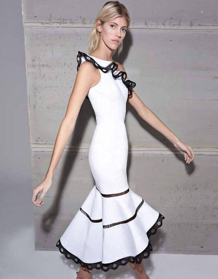 Alexis Christie One Shoulder Dress in White | SWANK