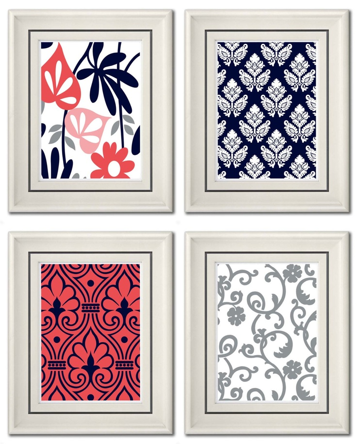 Set of Four Modern Vintage Coral/Navy Wall Art -