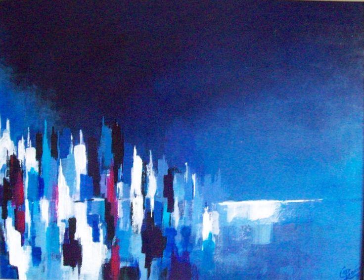 """"""" Metropoli e orizzonte """". 2010. Acrilico su masonite, cm 26 x 34."""