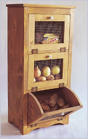 Woodworking Paper Plans Potato Storage Vegetable Bin | eBay - Don't love the design, but love the idea. Neil?