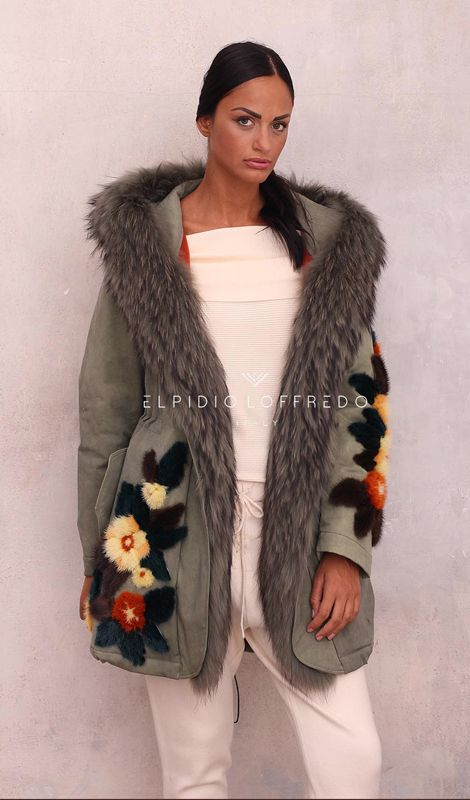 Parka with Mink Flowers and Fox