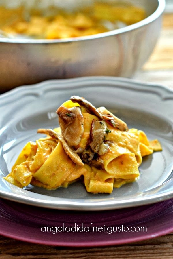 Porcini and pumpkin pappardelle (large tagliatelle) a special Autumn dish. #Italian-food #pasta