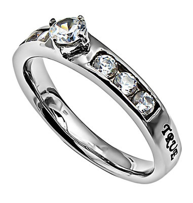 """Princess Solitaire """"True Love Waits"""" Christian Purity Promise Ring 
