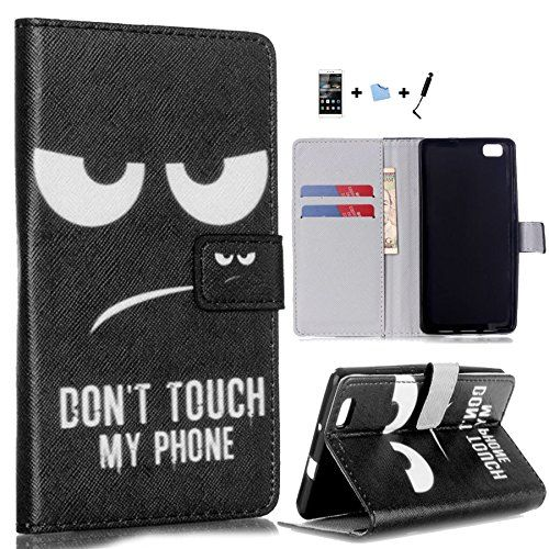 TIODIO® 4 in 1 Flip Wallet Stand Leather Case Cover For HuaWei P8 Lite, Screen Protector Film and Stylus Pen included, B15