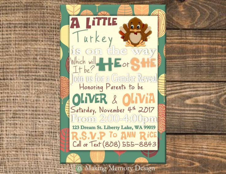 40 best gender reveal baby shower invitation images on pinterest a little turkey gender reveal baby shower invitation stopboris Image collections