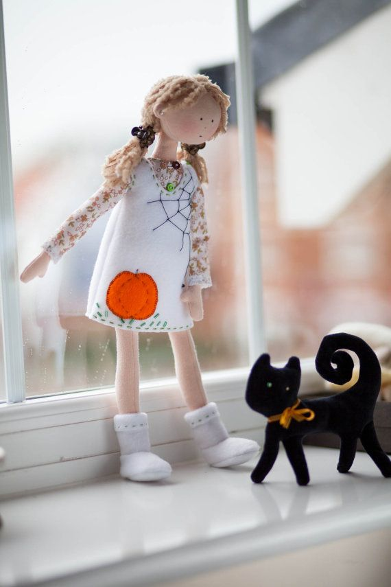 Halloween Rag Doll with a Black Cat
