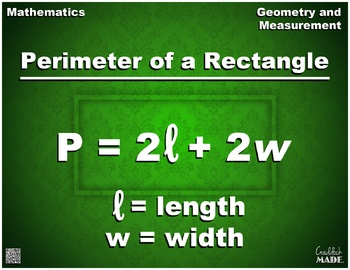Perimeter of a Rectangle Formula Math Poster