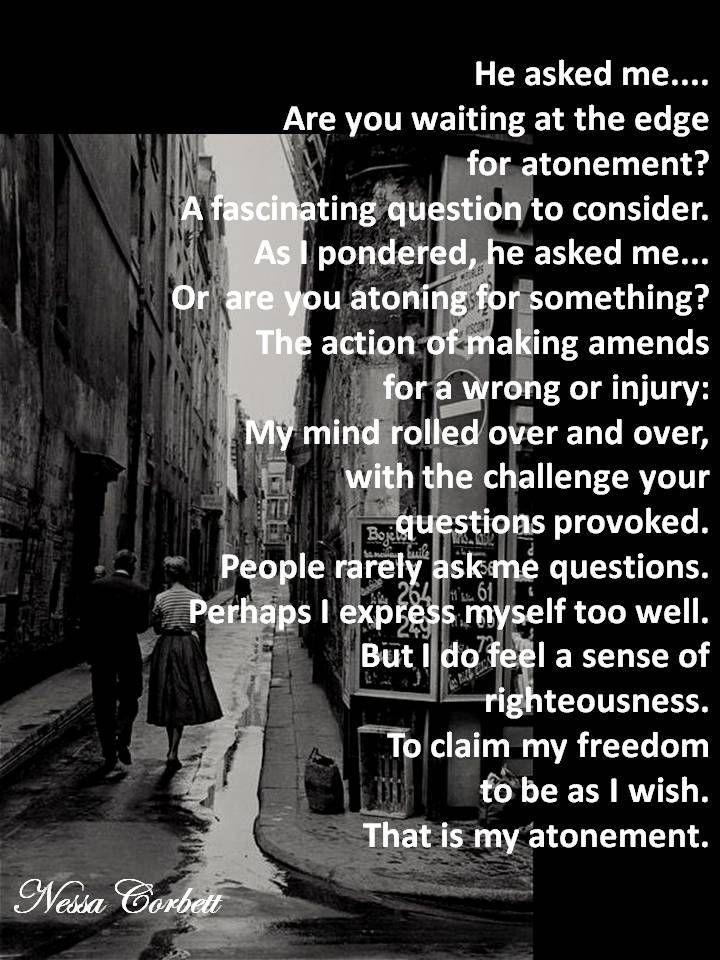 """ATONEMENT - Read it. Nessa Corbett. """"The world according to Nessa"""". Feb 2014"""