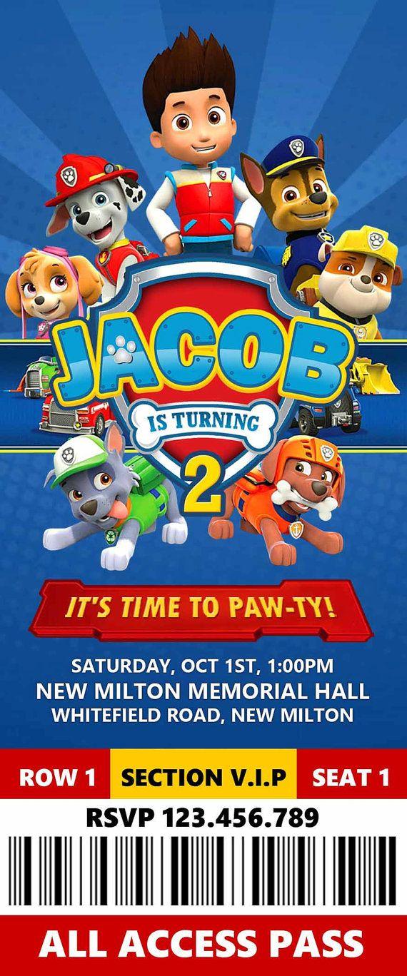 Divertida invitación para fiesta de cumpleaños de la Patrulla Canina. #invitaciones #Pawpatrol