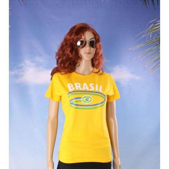 Dames t-shirt met de Braziliaanse vlag  Geel dames t-shirt vlag Brazilie. Geel dames t-shirt met korte mouwen en Brasil bedrukking op de voorzijde. Kwaliteit: 200 grams. Materiaal: 100% katoen. Het Braziliaanse t-shirt mag maximaal op 40 graden gewassen worden en mag niet worden gestreken in verband met de landen opdruk.  EUR 11.95  Meer informatie
