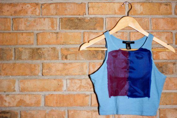 The Lana Del Rey- Light Blue Crop Tank Top. Size S