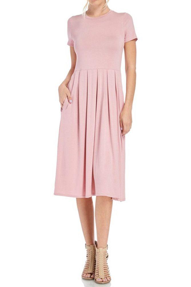 Short Sleeve Pleated Midi Dress with Pockets