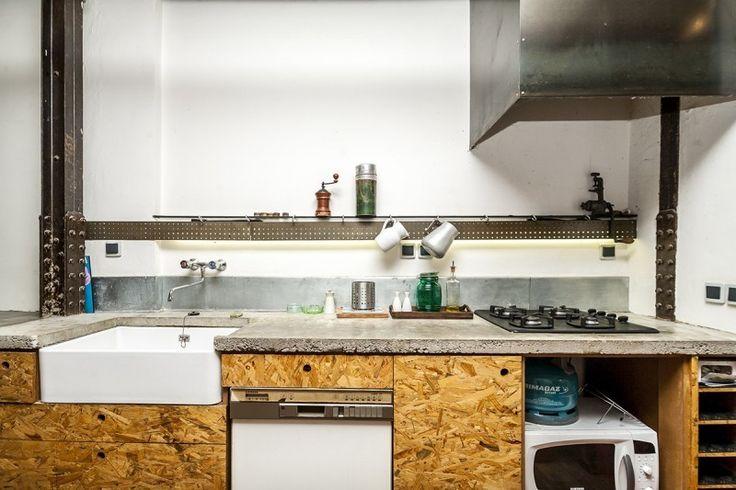 cuisine avec fa ade en osb appartement pinterest osb fa ades et appartements. Black Bedroom Furniture Sets. Home Design Ideas