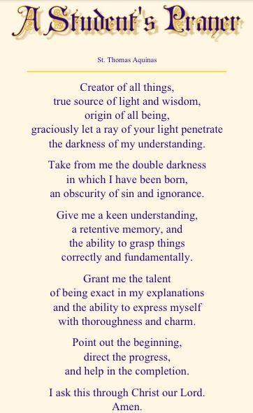 A student's prayer. St. Thomas Aquinas.