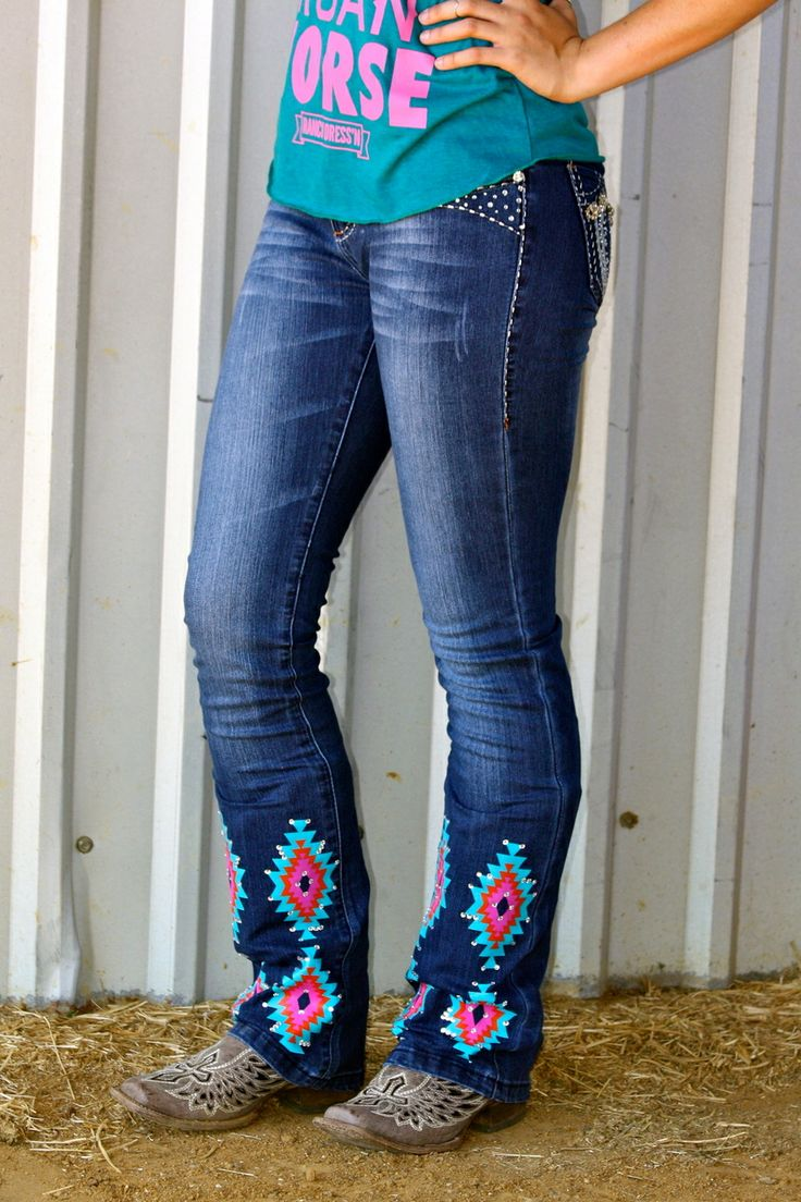Dynasty Equine - AZTEC JEANS WITH BLING, $65.00 (http://stores.ranchdressn.com/aztec-jeans-with-bling/)