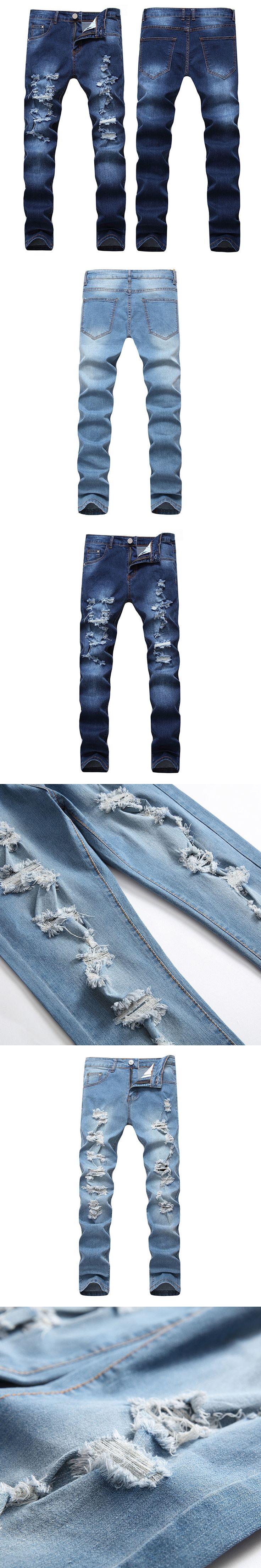 2017 New Autumn Dropshipping Biker Hole Jeans Men Long Trousers Skinny Ripped Distressed Jeans Denim Moto Pants Plus Size