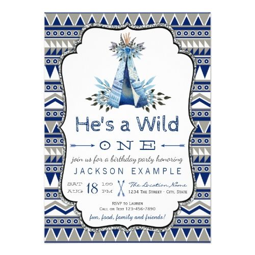 120 best boys 1st birthday party invitations images on pinterest boys 1st birthday party wild one birthday party boys teepee first birthday card stopboris Gallery