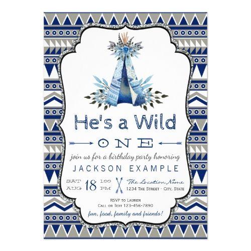 Boy's 1st Birthday Party Wild One Birthday Party Boys Teepee First Birthday Card
