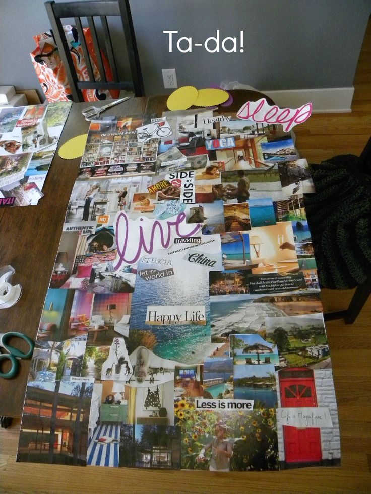 vision board how-to. used printer paper instead of poster board! cool, cheap alternative and it looks great.