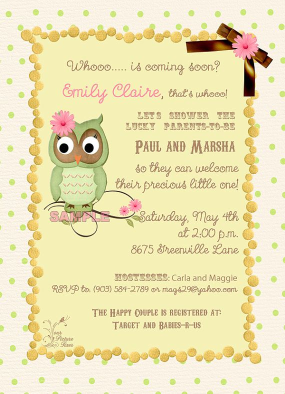 Polka Dot Owl Baby Shower Invitation by YourPictureFixer on Etsy, $25.00