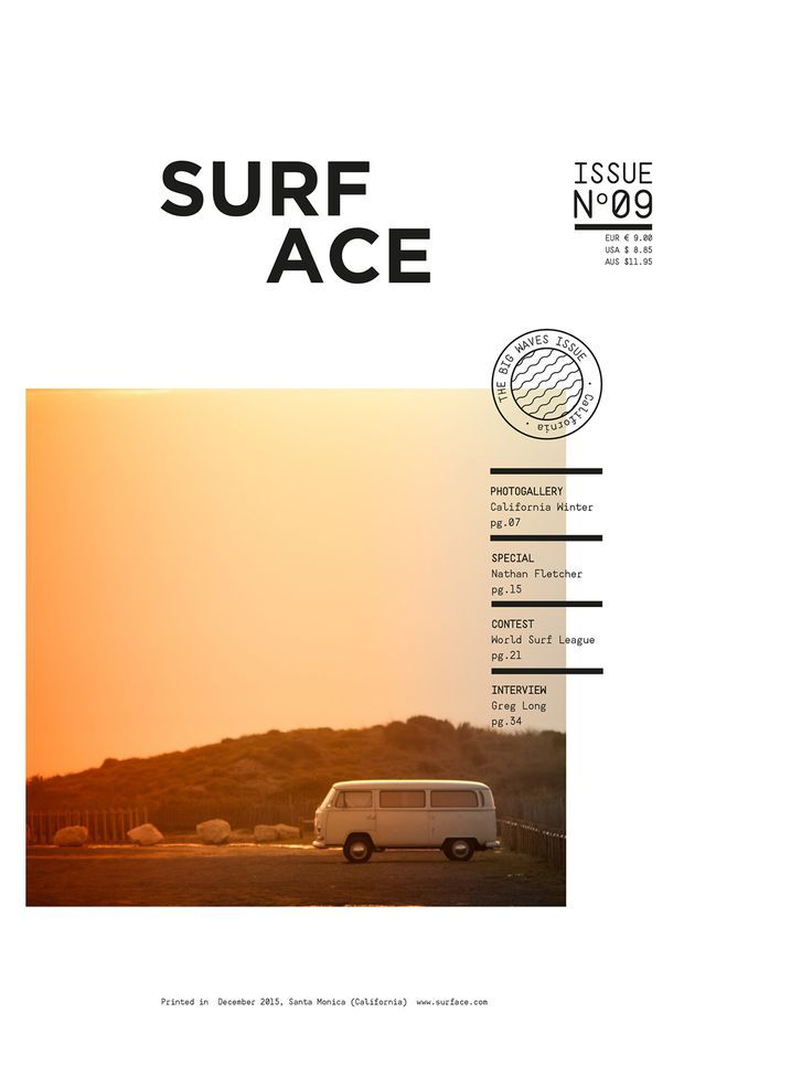 SURF MAGAZINE (cover+two spreads) on Behance                                                                                                                                                                                 More