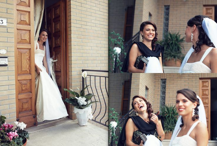 bride out home bridesmaid yellow pink veil happy  by Luca Massaccesi http://www.brobrowedding.com/