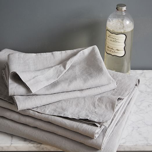 King pillowcase set of two in platinum. Belgian Linen Sheet Set | west elm