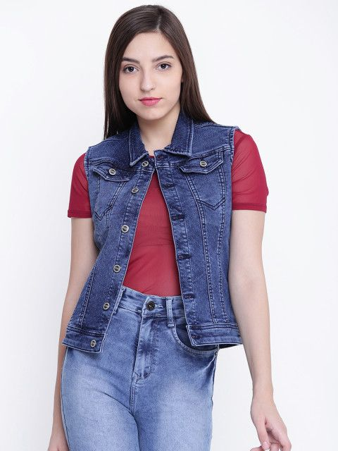 0118af00e6a Shop This Smart Blue Self Design Sleeveless Denim Jacket From FOWON  fowon   forwomenonly  fashion  style  onlineshopping  womensfashion  tops  jackets    ...