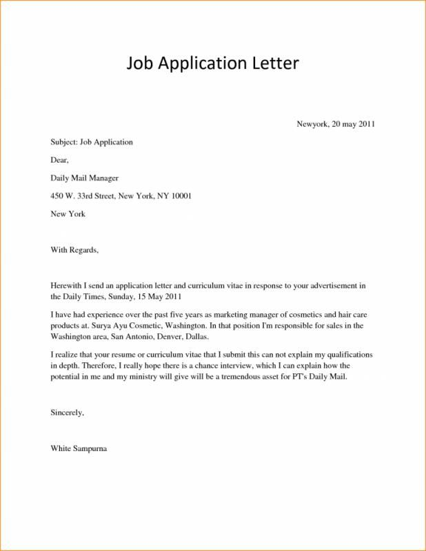 Letter Of Application Sample With Images Job Application Cover