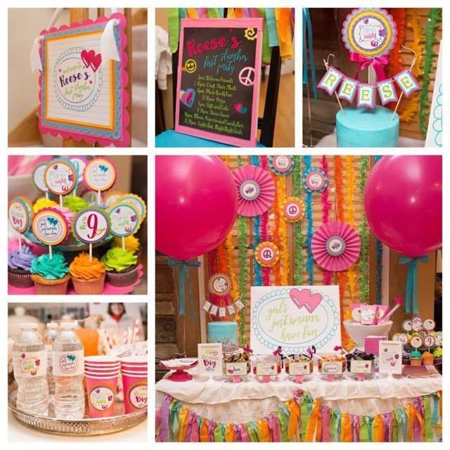Girl Tween Teen Sleepover Slumber Party Decorations 9 Piece Decor Box