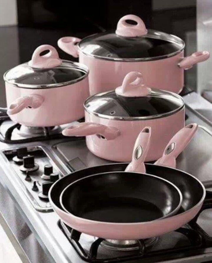Pink Kitchen Set: Cute Pastel Pots And Pans