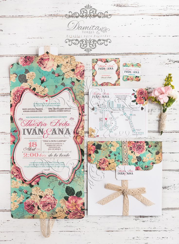 Invitacion boda, turquesa, flores, vintage, shabby chic, invitation wedding