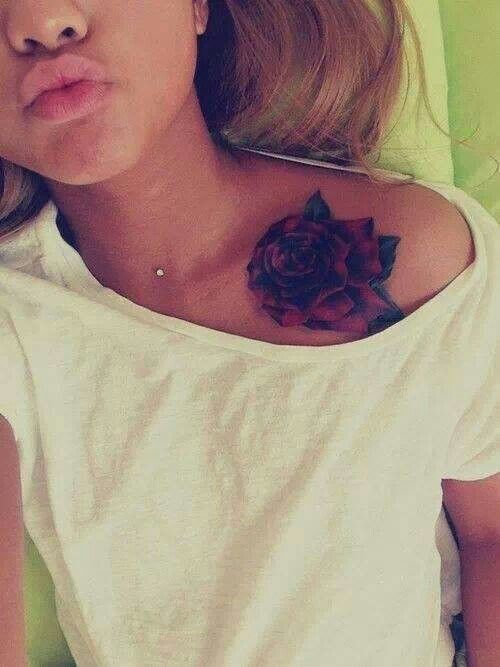 Neck dermal with shoulder chest rose art ink for Chest and neck tattoos