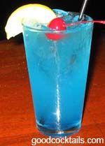 Adios Mother Fucker:  1/2 oz. Vodka  1/2 oz. Gin  1/2 oz. Rum (Light)  1/2 oz. Triple Sec  Sweet & Sour Mix  Float of Blue Curacao
