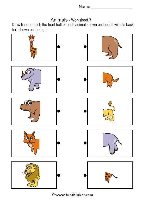 Preschool Worksheets Matching Similars : Matching animal bodies pinterest