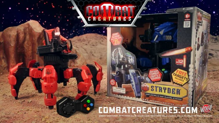 The brand new Combat Creatures, Attacknids commercial! Check out these awesome blasting, battling robots! Walk over all terrain, clip on different blasters, armor and battle brains and go into battle with any opponent!  The Attacknids are going worldwide this year!