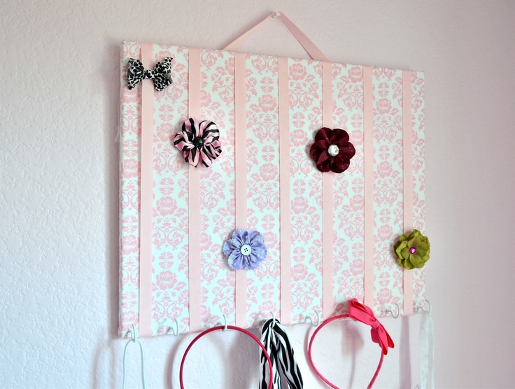 LARGE Pink and White Damask Hair Bow Holder Accessory Board Organizer With Hooks for Headbands