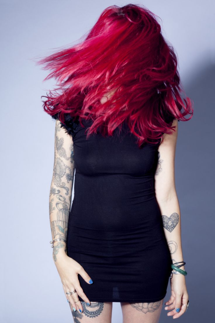#hair #model #motion #blur #flick #studio #canon #red #tattoos #feceless #covered #LBD #heart