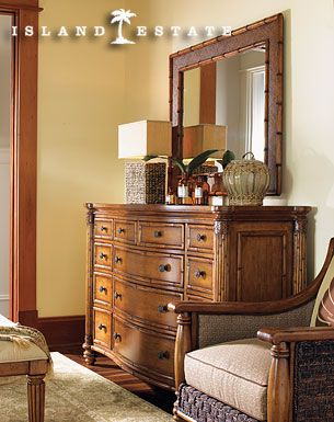 Tommy Bahama Home Island Estate Barbados Triple Dresser U0026 Palm Grove Mirror
